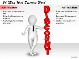1113 3d Man With Discount Word Ppt Graphics Icons Powerpoint