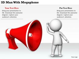 1113 3D Man With Megaphone Ppt Graphics Icons Powerpoint