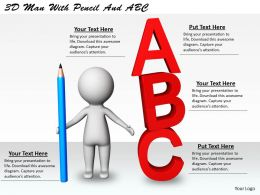 1113 3D Man With Pencil And ABC Ppt Graphics Icons Powerpoint