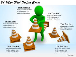 1113 3d Man With Traffic Cones Ppt Graphics Icons Powerpoint