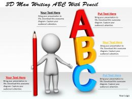 1113 3D Man Writing ABC With Pencil Ppt Graphics Icons Powerpoint