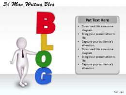 1113 3d Man Writing Blog Ppt Graphics Icons Powerpoint