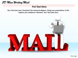 1113 3D Man Writing Mail Ppt Graphics Icons Powerpoint