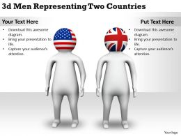 1113 3d Men Representing Two Countries Ppt Graphics Icons Powerpoint