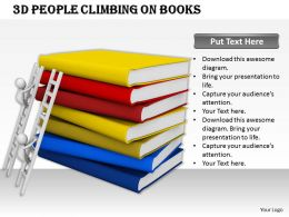 1113 3D People Climbing On Books Ppt Graphics Icons Powerpoint