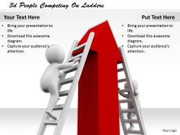 1113 3d People Competing On Ladders Ppt Graphics Icons Powerpoint
