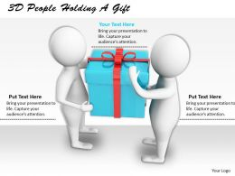 1113 3D People Holding A Gift Ppt Graphics Icons Powerpoint