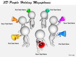 1113 3D People Holding Megaphones Ppt Graphics Icons Powerpoint