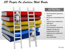 1113 3D People On Ladders With Books Ppt Graphics Icons Powerpoint