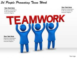 1113 3d People Promoting Team Work Ppt Graphics Icons Powerpoint