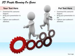 1113 3D People Running On Gears Ppt Graphics Icons Powerpoint