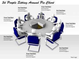 1113 3d People Sitting Around Pie Chart Ppt Graphics Icons Powerpoint