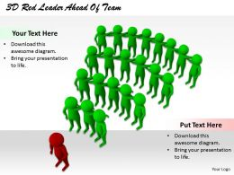 1113 3D Red Leader Ahead Of Team Ppt Graphics Icons Powerpoint