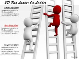 1113 3D Red Leader On Ladder Ppt Graphics Icons Powerpoint