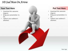 1113 3D Sad Man On Arrow Ppt Graphics Icons Powerpoint