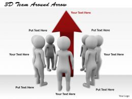 1113 3D Team Around Arrow Ppt Graphics Icons Powerpoint