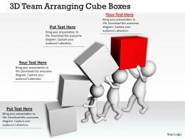 1113 3D Team Arranging Cube Boxes Ppt Graphics Icons Powerpoint