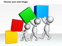 1113 3D Team Arranging Cubes Ppt Graphics Icons Powerpoint