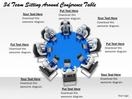 1113 3d Team Sitting Around Conference Table Ppt Graphics Icons Powerpoint