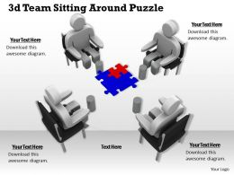 1113 3d Team Sitting Around Puzzle Ppt Graphics Icons Powerpoint