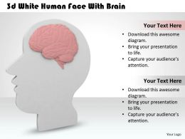 1113 3d White Human Face With Brain Ppt Graphics Icons Powerpoint
