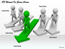 1113 3D Winner On Green Arrow Ppt Graphics Icons Powerpoint