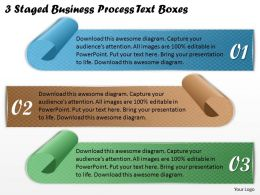 1113 Business Ppt Diagram 3 Staged Business Process Text Boxes Powerpoint Template