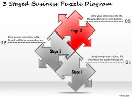 1113 Business Ppt Diagram 3 Staged Business Puzzle Diagram Powerpoint Template