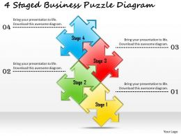 1113 Business Ppt Diagram 4 Staged Business Puzzle Diagram Powerpoint Template