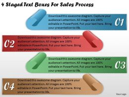 1113 Business Ppt Diagram 4 Staged Text Boxes For Sales Process Powerpoint Template