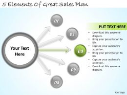 1113 Business Ppt diagram 5 Elements Of Great Sales Plan Powerpoint Template