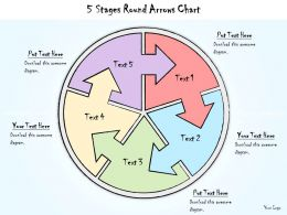 1113 Business Ppt Diagram 5 Stages Round Arrows Chart Powerpoint Template