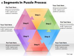 1113 Business Ppt diagram 6 Segments In Puzzle Process Powerpoint Template