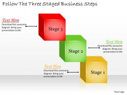 1113 Business Ppt Diagram Follow The Three Staged Business Steps Powerpoint Template