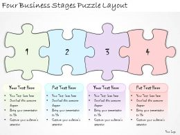 1113 Business Ppt Diagram Four Business Stages Puzzle Layout Powerpoint Template