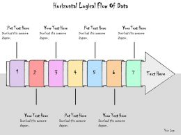 1113 Business Ppt Diagram Horizontal Logical Flow Of Data Powerpoint Template