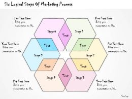 1113 Business Ppt Diagram Six Logical Steps Of Marketing Process Powerpoint Template