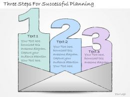 1113 Business Ppt Diagram Three Steps For Successful Planning Powerpoint Template