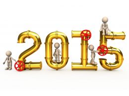 1114 2015 Year Text Made With Golden Pipe Stock Photo
