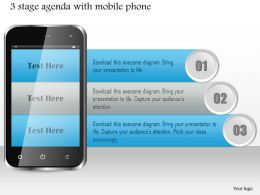 1114 3 Stage Agenda With Mobile Phone Ppt Slide