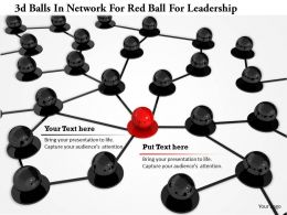 1114 3d Balls In Network For Red Ball For Leadership Image Graphic For Powerpoint