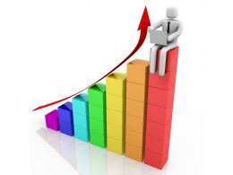 1114 3d Bar Graph With Growth 3d Man On Top Of The Bar Graph Stock Photo