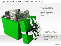 1114 3d Box Full With Dollars And Text Box Image Graphics For Powerpoint