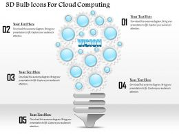 1114 3d Bulb Icons For Cloud Computing PowerPoint Template