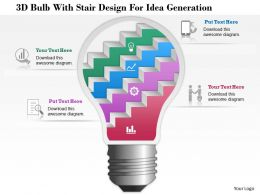 1114 3d Bulb With Stair Design For Idea Generation Powerpoint Template