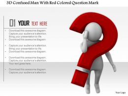 1114 3d Confused Man With Red Colored Question Mark Ppt Graphics Icons