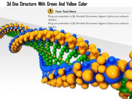 1114 3d Dna Structure With Green And Yellow Color Image Graphic For Powerpoint
