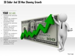 1114 3d Dollar And 3d Man Showing Growth Ppt Graphics Icons