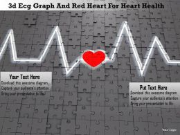 1114 3d Ecg Graph And Red Heart For Heart Health Image Graphics For Powerpoint