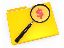 1114 3d Folder With Dollar Symbol And Magnifying Glass Stock Photo